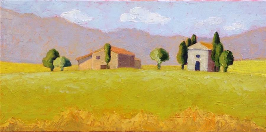 Original art for sale at UGallery.com | Tuscan Villa by Pat Doherty | $525 | oil painting | 8' h x 16' w | ..\art\oil-painting-Tuscan-Villa