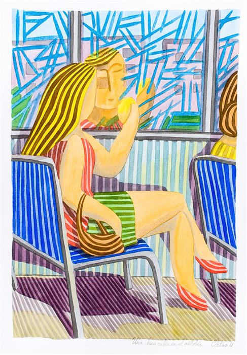 Original art for sale at UGallery.com | A Blonde Girl on the Bus by Javier Ortas | $1,800 | watercolor painting | 27.55' h x 19.68' w | ..\art\watercolor-painting-A-Blonde-Girl-on-the-Bus