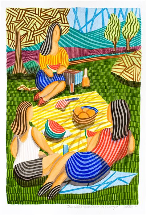 Original art for sale at UGallery.com | Three Girls Having a Picnic in the Countryside by Javier Ortas | $1,800 | watercolor painting | 27.55' h x 19.68' w | ..\art\watercolor-painting-Three-Girls-Having-a-Picnic-in-the-Countryside