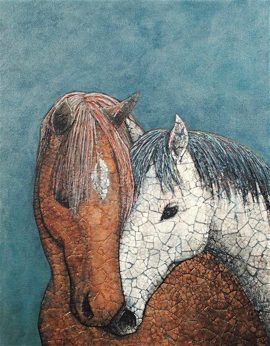 Original art for sale at UGallery.com | Kintsugi Horses - Everything Will Be Alright by Jennifer Ross | $750 | mixed media artwork | 18' h x 14' w | ..\art\mixed-media-artwork-Kintsugi-Horses-Everything-Will-Be-Alright