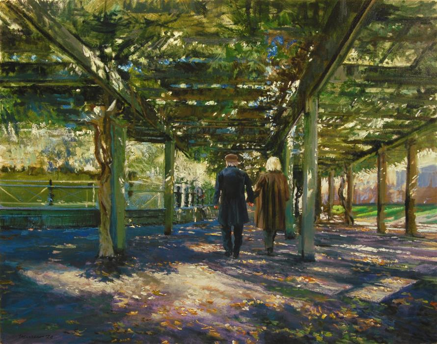 Original art for sale at UGallery.com | Walking under the Wisteria Pergola by Onelio Marrero | $1,800 | oil painting | 24' h x 30' w | ..\art\oil-painting-Walking-under-the-Wisteria-Pergola