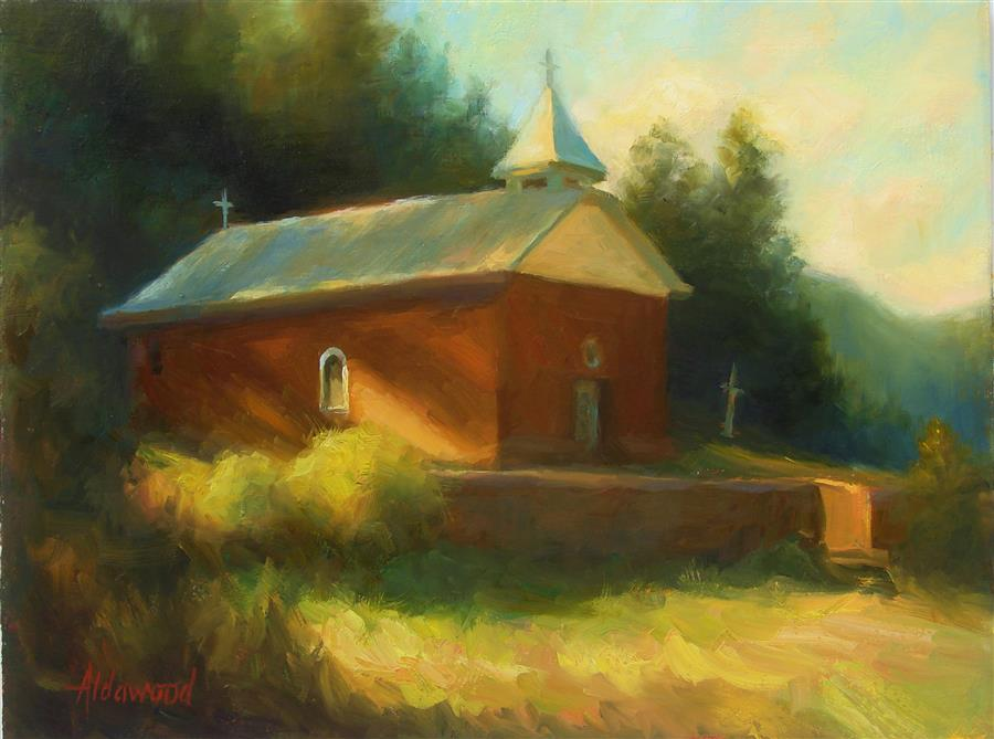 Original art for sale at UGallery.com | Old New Mexico Church by Sherri Aldawood | $575 | oil painting | 12' h x 16' w | ..\art\oil-painting-Old-New-Mexico-Church