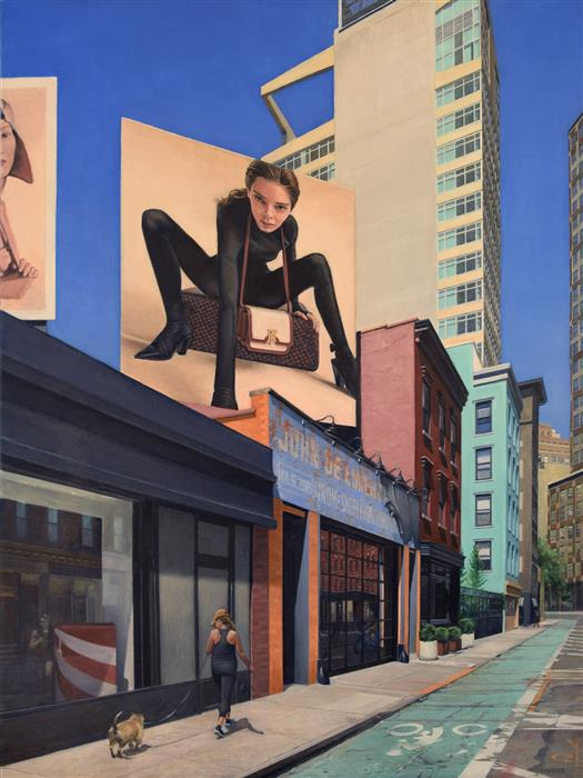 Original art for sale at UGallery.com | On Grand Street by Nick Savides | $7,600 | oil painting | 48' h x 36' w | ..\art\oil-painting-On-Grand-Street