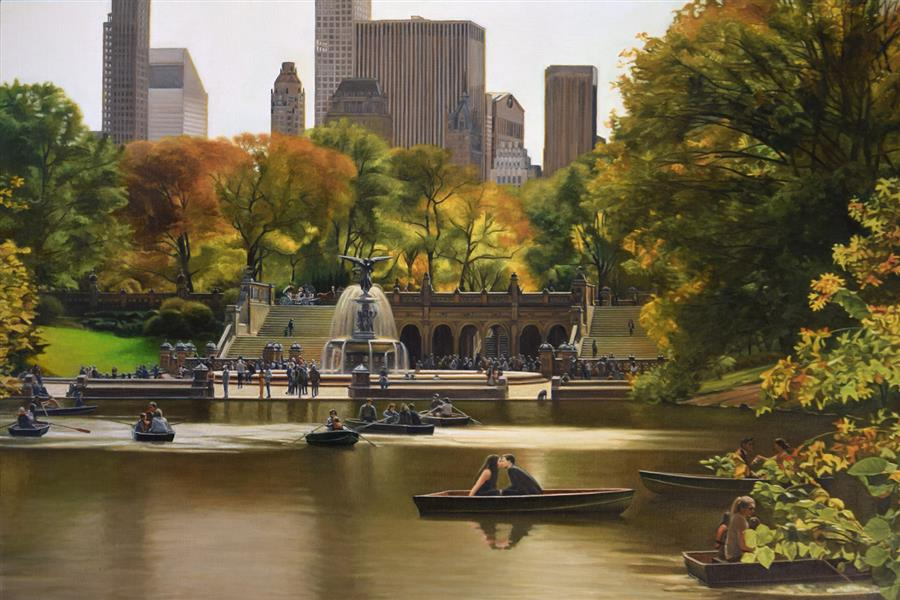 Original art for sale at UGallery.com | Central Park - Bethesda Terrace in Autumn by Nick Savides | $8,975 | oil painting | 36' h x 54' w | ..\art\oil-painting-Central-Park-Bethesda-Terrace-in-Autumn