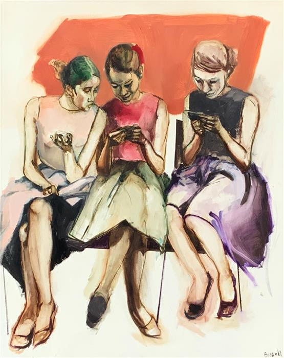 Original art for sale at UGallery.com | 3 Women Texting by Liz Brozell | $1,825 | oil painting | 30' h x 24' w | ..\art\oil-painting-3-Women-Texting