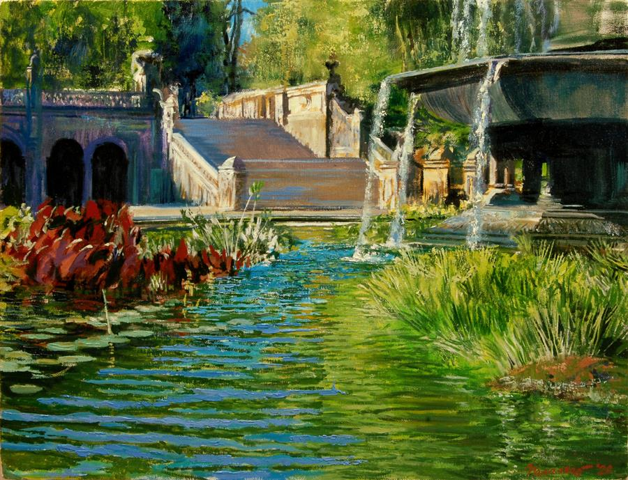 Original art for sale at UGallery.com | Under Bethesda Fountain by Onelio Marrero | $1,000 | oil painting | 16' h x 20' w | ..\art\oil-painting-Under-Bethesda-Fountain