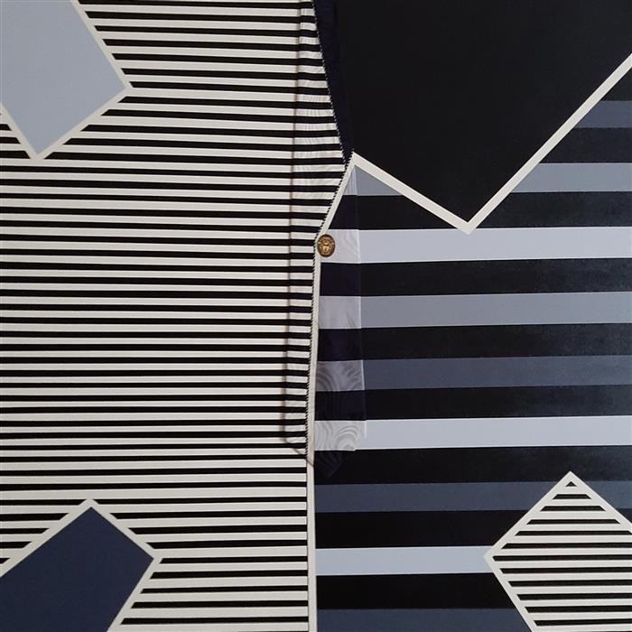 Original art for sale at UGallery.com | Versace Gray Stripes by Gregory Brown | $1,700 | mixed media artwork | 30' h x 30' w | ..\art\mixed-media-artwork-Versace-Gray-Stripes