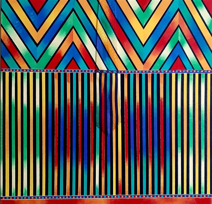 Original art for sale at UGallery.com | Versace Red Stripes by Gregory Brown | $1,700 | mixed media artwork | 30' h x 30' w | ..\art\mixed-media-artwork-Versace-Red-Stripes