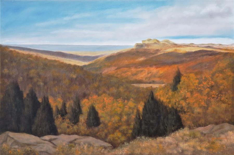 Original art for sale at UGallery.com | Northern New Mexico Autumn by Eugene Rinchik | $900 | oil painting | 24' h x 36' w | ..\art\oil-painting-Northern-New-Mexico-Autumn