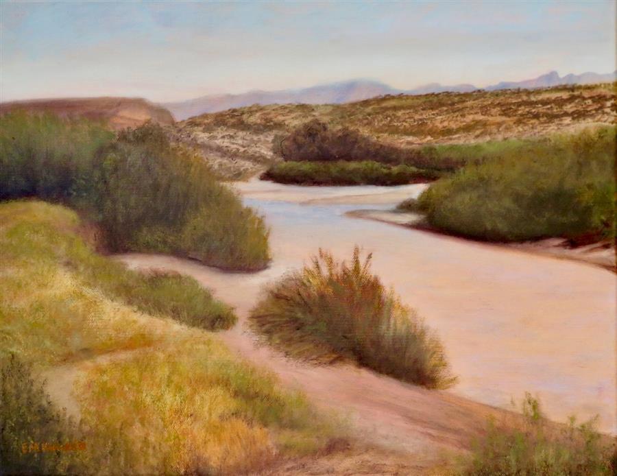 Original art for sale at UGallery.com | Desert Arroyo by Eugene Rinchik | $525 | oil painting | 14' h x 18' w | ..\art\oil-painting-Desert-Arroyo
