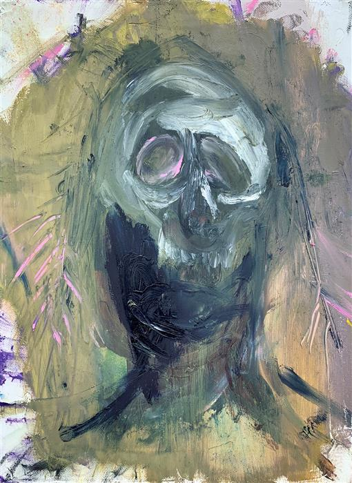 Original art for sale at UGallery.com | Death as a Cover by Damian Gomes | $675 | oil painting | 16' h x 12' w | ..\art\oil-painting-Death-as-a-Cover