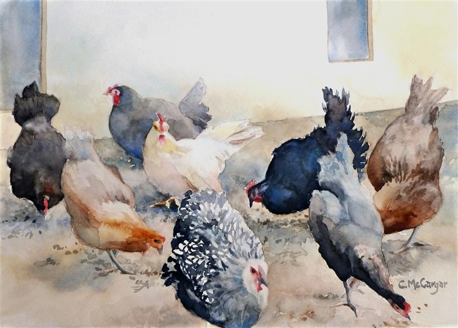 Original art for sale at UGallery.com | The Girls by Catherine McCargar | $575 | watercolor painting | 11' h x 15' w | ..\art\watercolor-painting-The-Girls