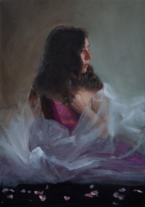 Original art for sale at UGallery.com | Zoe in Tulle by John Kelly | $2,300 | oil painting | 21.5' h x 15' w | ..\art\oil-painting-Zoe-in-Tulle