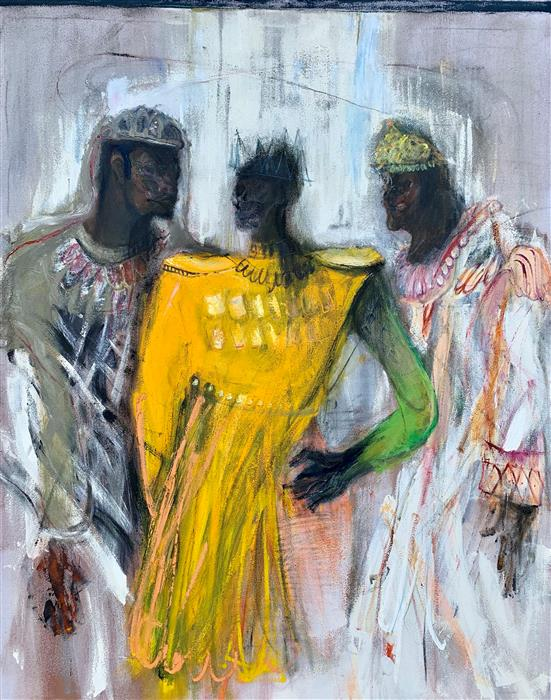 Original art for sale at UGallery.com | Wise Guys by Damian Gomes | $6,000 | oil painting | 60' h x 48' w | ..\art\oil-painting-Wise-Guys