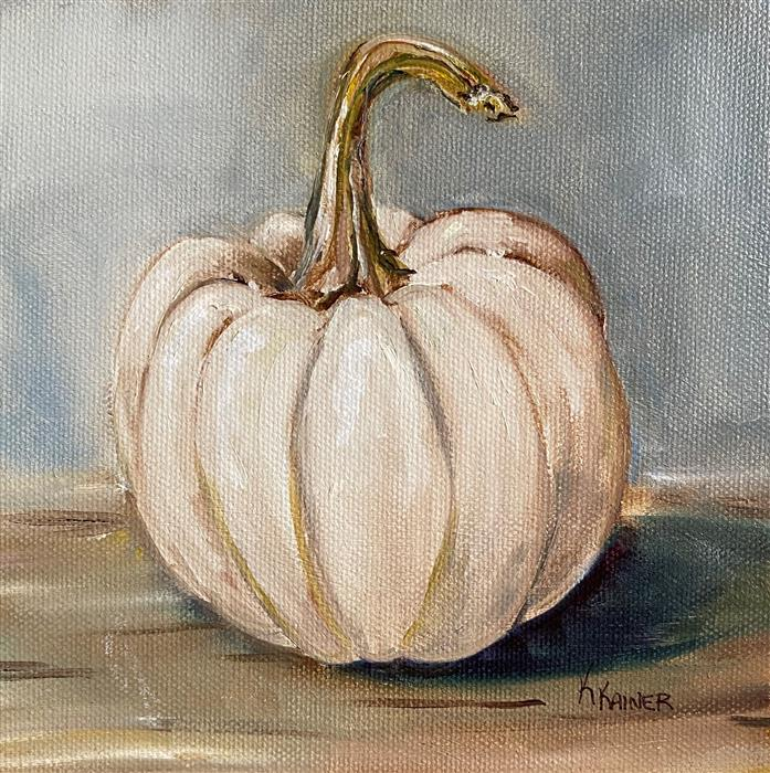 Original art for sale at UGallery.com | Miniature Casper Pumpkin by Kristine Kainer | $300 | oil painting | 6' h x 6' w | ..\art\oil-painting-Miniature-Casper-Pumpkin