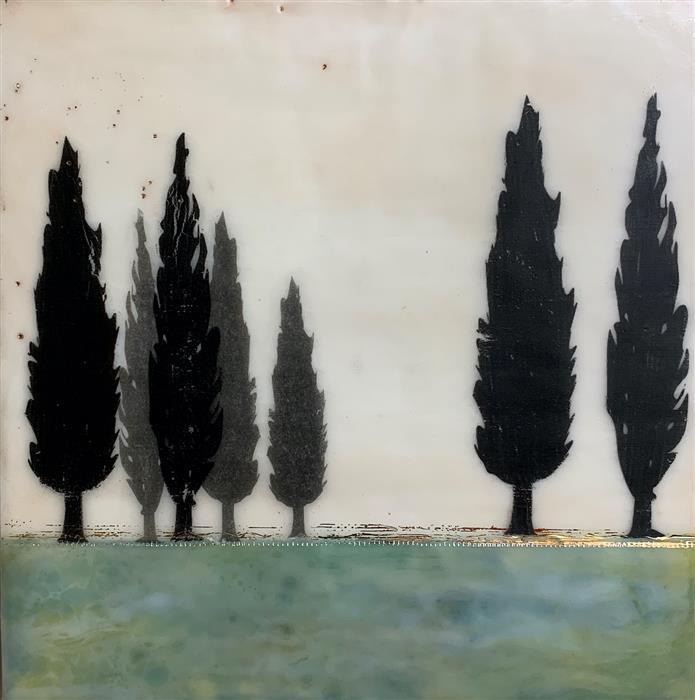 Original art for sale at UGallery.com | Italian Green by Shari Lyon | $525 | encaustic artwork | 10' h x 10' w | ..\art\encaustic-artwork-Italian-Green
