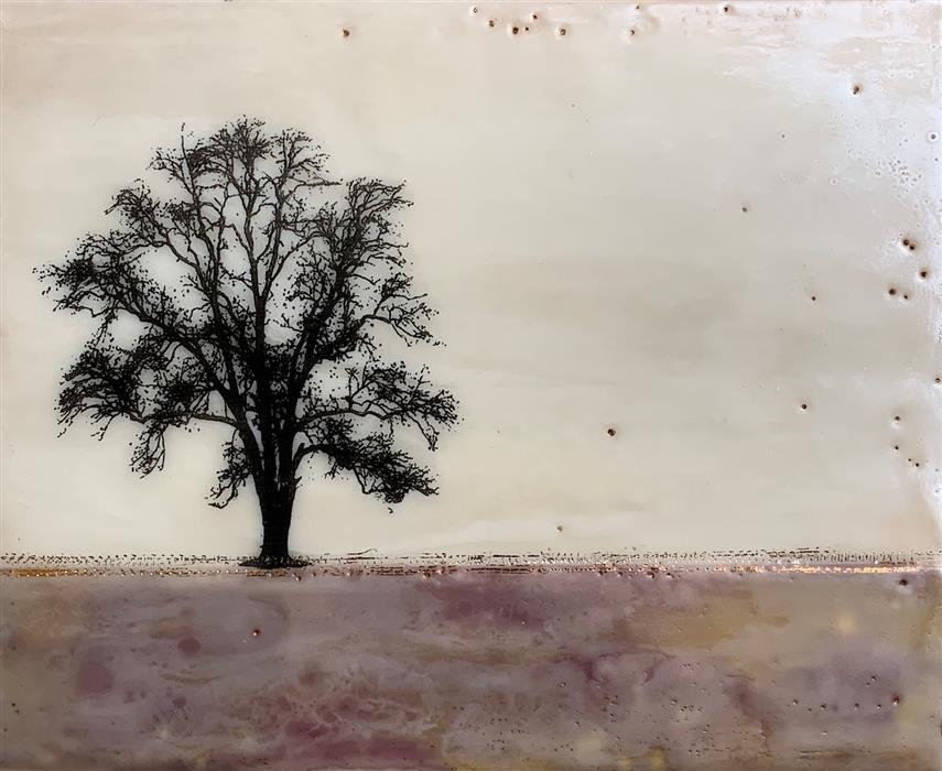 Original art for sale at UGallery.com | Plum Tree by Shari Lyon | $425 | encaustic artwork | 8' h x 10' w | ..\art\encaustic-artwork-Plum-Tree