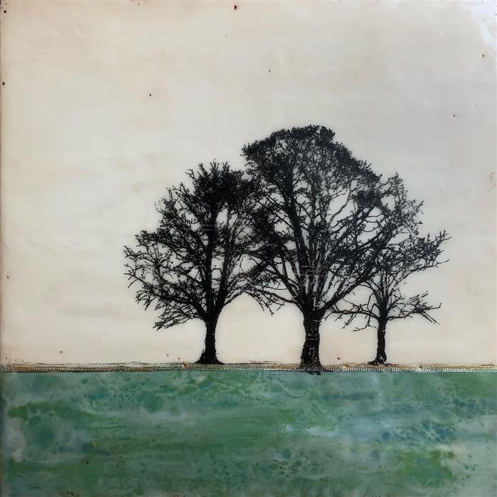 Original art for sale at UGallery.com | Forrest Green by Shari Lyon | $1,125 | encaustic artwork | 16' h x 16' w | ..\art\encaustic-artwork-Forrest-Green