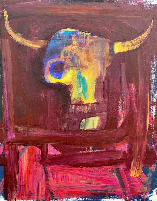 Original art for sale at UGallery.com | Cow Skull Sunset by Damian Gomes | $600 | acrylic painting | 20' h x 16' w | ..\art\acrylic-painting-Cow-Skull-Sunset