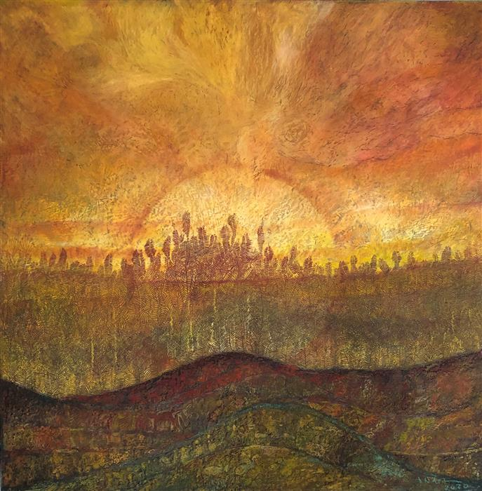 Original art for sale at UGallery.com | Sunset by Doug Lawler | $3,700 | pastel artwork | 30' h x 30' w | ..\art\pastel-artwork-Sunset-68849