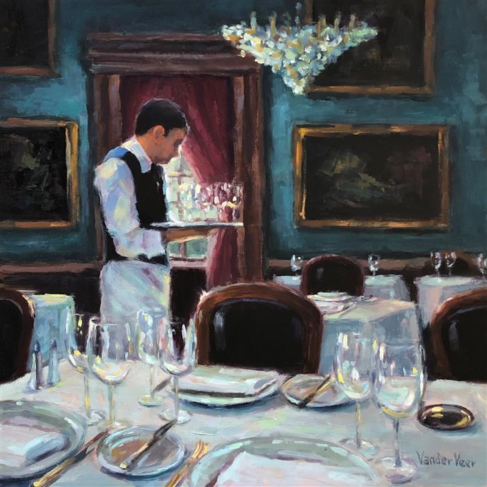 Original art for sale at UGallery.com | Avant le Diner (Before Dinner) by Faye Vander Veer | $1,050 | oil painting | 12' h x 12' w | ..\art\oil-painting-Avant-le-Diner-Before-Dinner