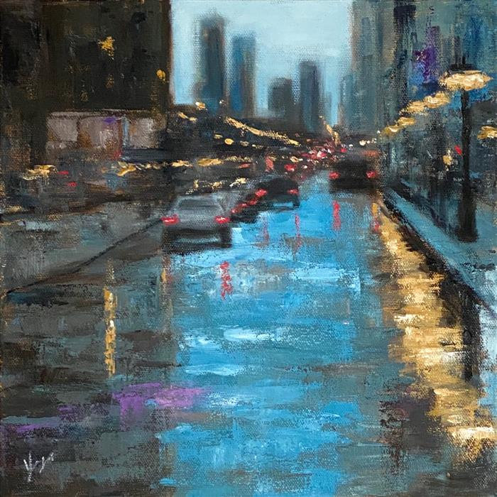 Original art for sale at UGallery.com | Colors of the Rain by Yangzi Xu | $400 | oil painting | 12' h x 12' w | ..\art\oil-painting-Colors-of-the-Rain
