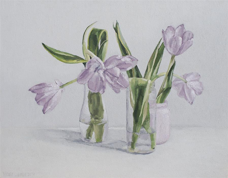 Original art for sale at UGallery.com | Pale Purple Tulips by Nicole Lamothe | $475 | oil painting | 11' h x 14' w | ..\art\oil-painting-Pale-Purple-Tulips