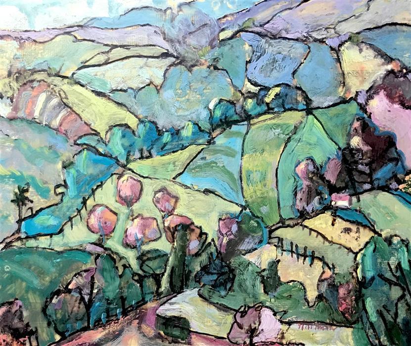 Original art for sale at UGallery.com | Mountain Twilight by James Hartman | $1,150 | encaustic artwork | 20' h x 24' w | ..\art\encaustic-artwork-Mountain-Twilight