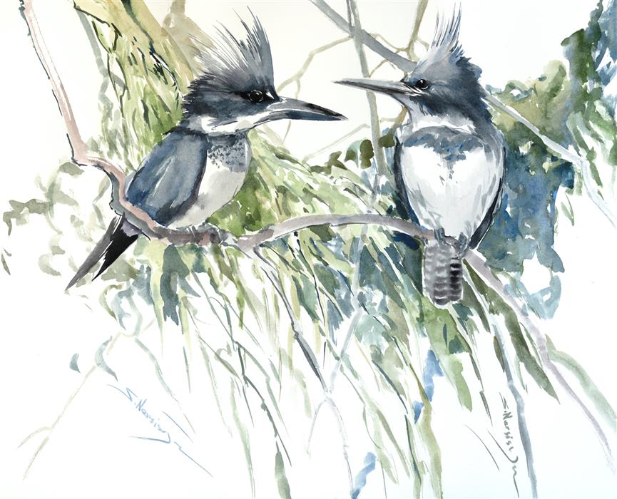 Original art for sale at UGallery.com | Belted Kingfishers by Suren Nersisyan | $400 | watercolor painting | 16' h x 20' w | ..\art\watercolor-painting-Belted-Kingfishers