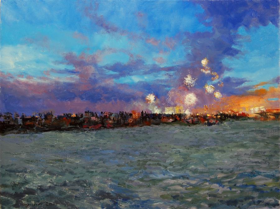 Original art for sale at UGallery.com | Celebration on Petersburg Beach by Onelio Marrero | $1,125 | oil painting | 18' h x 24' w | ..\art\oil-painting-Celebration-on-Petersburg-Beach