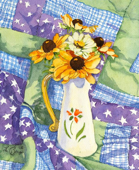 Original art for sale at UGallery.com | Patchwork Bouquet by Nancy LaBerge Muren | $325 | watercolor painting | 10' h x 8' w | ..\art\watercolor-painting-Patchwork-Bouquet