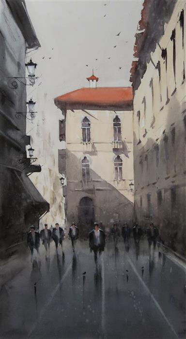 Original art for sale at UGallery.com | That Sunlit Balcony by Swarup Dandapat | $750 | watercolor painting | 22' h x 12' w | ..\art\watercolor-painting-That-Sunlit-Balcony