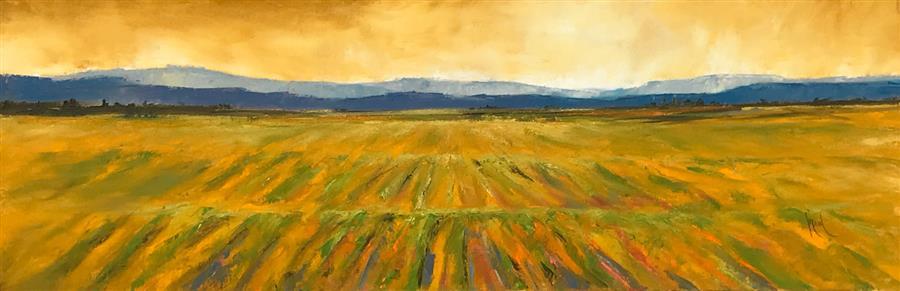 Original art for sale at UGallery.com | Vineyard XI by Mandy Main | $1,000 | oil painting | 12' h x 36' w | ..\art\oil-painting-Vineyard-XI