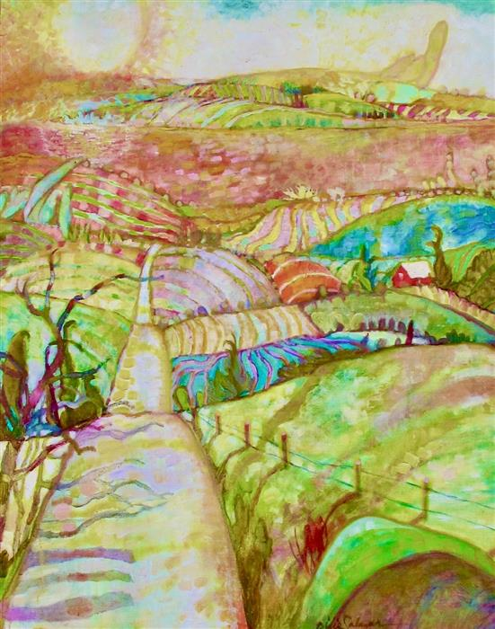 Original art for sale at UGallery.com | Road through the Farmlands by Dixie Salazar | $1,375 | oil painting | 30' h x 24' w | ..\art\oil-painting-Road-through-the-Farmlands