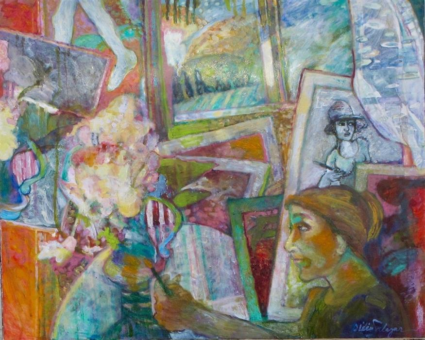 Original art for sale at UGallery.com | The Artist in Her Studio by Dixie Salazar | $1,800 | oil painting | 26' h x 30' w | ..\art\oil-painting-The-Artist-in-Her-Studio