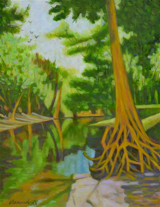Original art for sale at UGallery.com | Old Cypress by Fernando Soler | $625 | oil painting | 20' h x 16' w | ..\art\oil-painting-Old-Cypress
