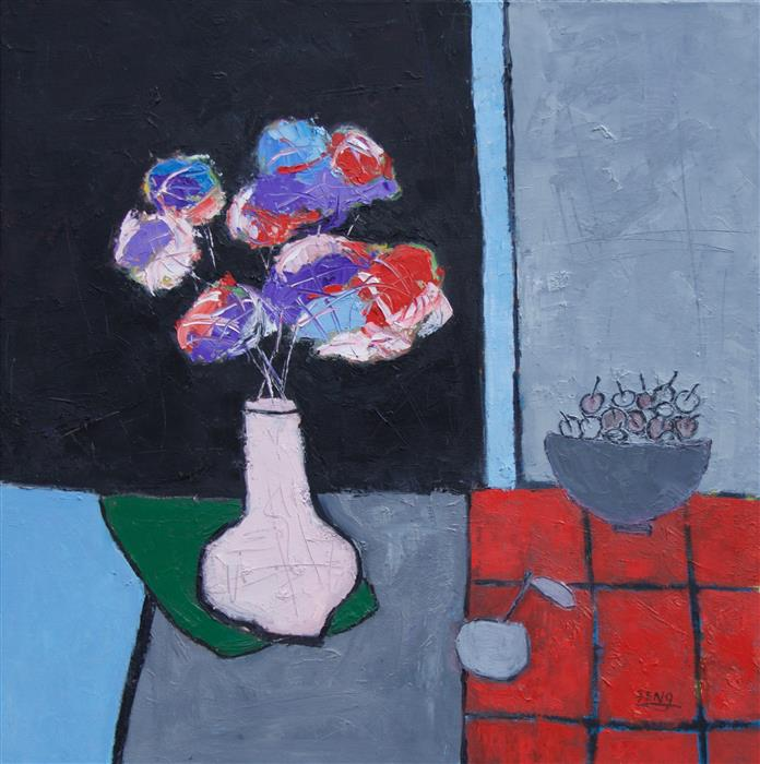 Original art for sale at UGallery.com | Pink Vase on Green Cloth by Feng Biddle | $1,400 | oil painting | 30' h x 30' w | ..\art\oil-painting-Pink-Vase-on-Green-Cloth