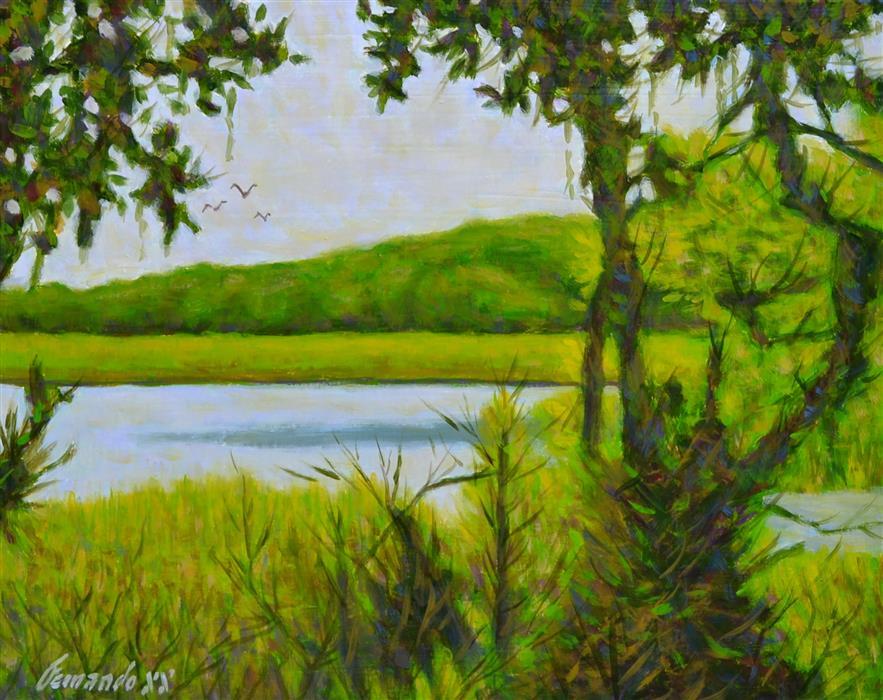 Original art for sale at UGallery.com | Myakka Lake by Fernando Soler | $625 | oil painting | 16' h x 20' w | ..\art\oil-painting-Myakka-Lake