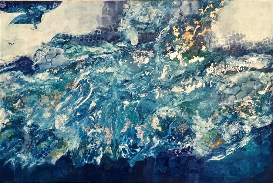 Original art for sale at UGallery.com | Sea Foam by DL Watson | $2,150 | acrylic painting | 24' h x 36' w | ..\art\acrylic-painting-Sea-Foam