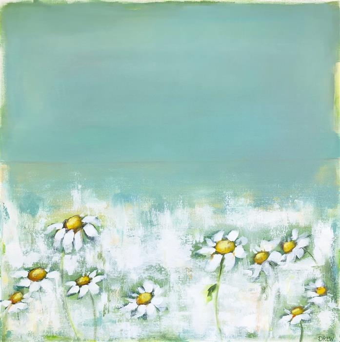 Original art for sale at UGallery.com | Dancing Daisies by Drew Noel Marin | $2,000 | acrylic painting | 30' h x 30' w | ..\art\acrylic-painting-Dancing-Daisies