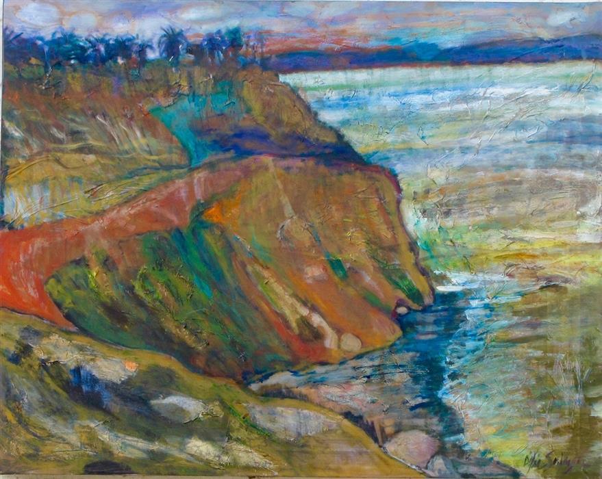 Original art for sale at UGallery.com | Cliffs of Kauai by Dixie Salazar | $1,150 | mixed media artwork | 22' h x 28' w | ..\art\mixed-media-artwork-Cliffs-of-Kauai