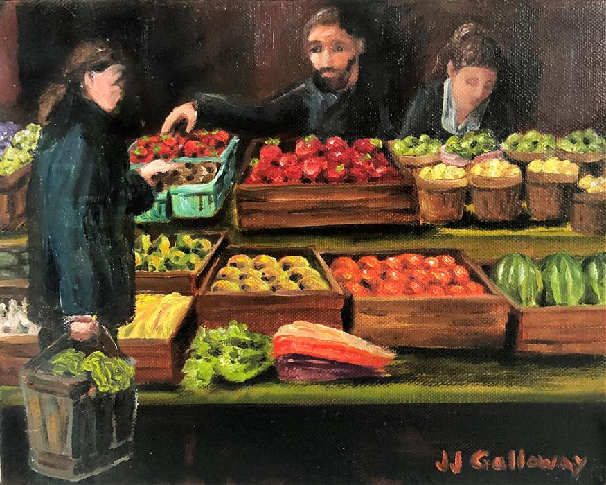 Original art for sale at UGallery.com | Farmers Market by JJ Galloway | $325 | oil painting | 8' h x 10' w | ..\art\oil-painting-Farmers-Market-68935