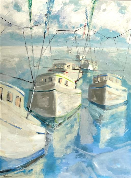 Original art for sale at UGallery.com | Caravan at Sea by Patricia Fabian | $2,775 | acrylic painting | 40' h x 30' w | ..\art\acrylic-painting-Caravan-at-Sea