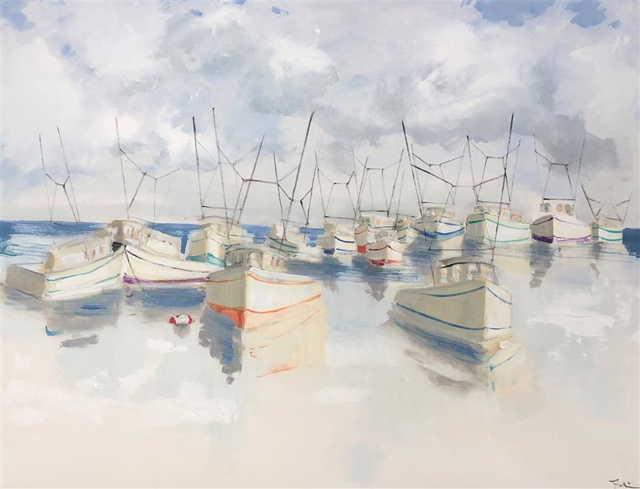 Original art for sale at UGallery.com | A Nautical Gathering by Patricia Fabian | $2,775 | acrylic painting | 30' h x 40' w | ..\art\acrylic-painting-A-Nautical-Gathering