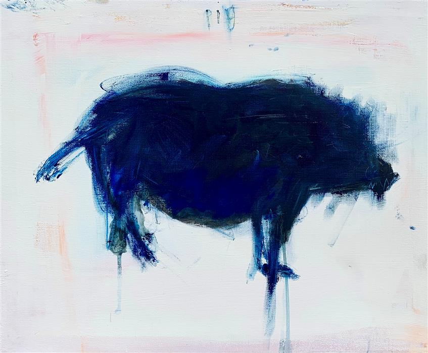 Original art for sale at UGallery.com | Pig by Damian Gomes | $550 | oil painting | 16' h x 20' w | ..\art\oil-painting-Pig