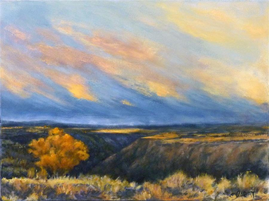 Original art for sale at UGallery.com | Taos Gorge Landscape by Elizabeth Garat | $1,000 | oil painting | 18' h x 24' w | ..\art\oil-painting-Taos-Gorge-Landscape