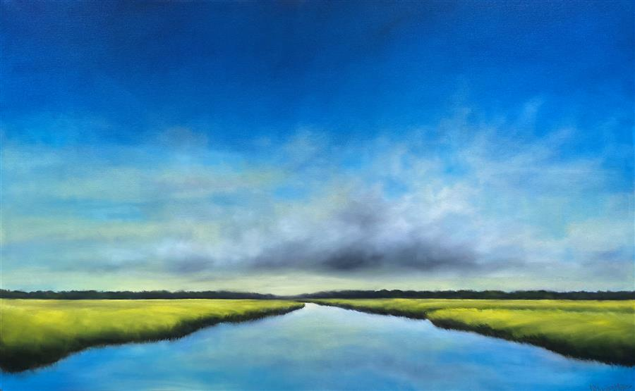 Original art for sale at UGallery.com | Early Daylight Marsh by Nancy Hughes Miller | $2,700 | oil painting | 30' h x 48' w | ..\art\oil-painting-Early-Daylight-Marsh