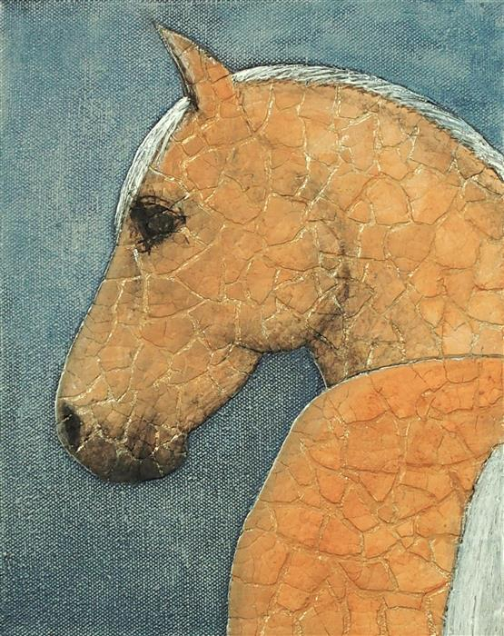 Original art for sale at UGallery.com | Kintsugi Horse - Palomino on Denim by Jennifer Ross | $400 | mixed media artwork | 10' h x 8' w | ..\art\mixed-media-artwork-Kintsugi-Horse-Palomino-on-Denim