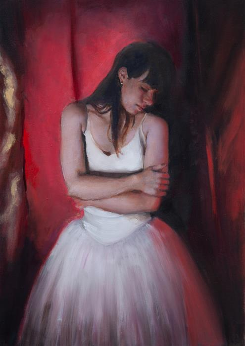 Original art for sale at UGallery.com | Clemence, Red by John Kelly | $2,300 | oil painting | 21.5' h x 15' w | ..\art\oil-painting-Clemence-Red