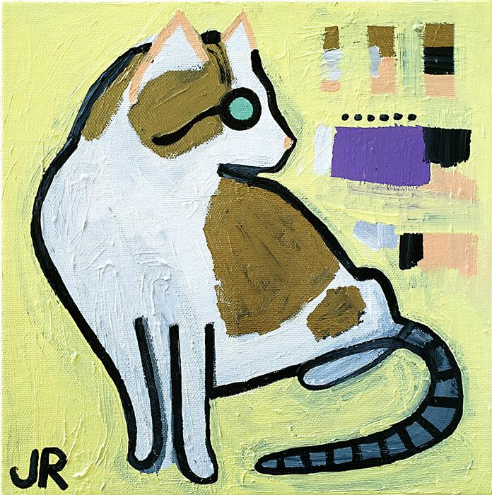 Original art for sale at UGallery.com   Cat on Light Yellow by Jessica JH Roller   $275   acrylic painting   10' h x 10' w   ..\art\acrylic-painting-Cat-on-Light-Yellow